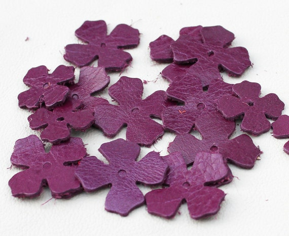 Amethyst Purple Leather Flowers 20 Die Cuts jewelry making supplies applique embellishment DIY Pet, Cat, Dog Collar Applique genuine leather