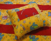 Dragontales Blanket and Pillow, Red and Yellow travel blanket, Reversible blanket,Handmade toddler blanket, perfect for daycare