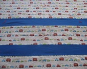 Truck Fleece Travel Blanket, Blue and White Boys Blankets, Red Fleece Blankets, Boys Cars Blanket sets, perfect for daycare, ready to ship