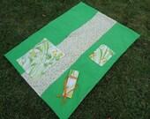 SALE Kids Activity Blanket, spring blanket, reversible blanket, butterfly blanket, orange and green girls blanket, lightweight blanket
