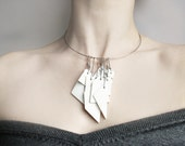White porcelain geometric pendant necklace with stainless steel
