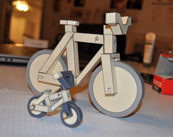 paperbikes v2L - LARGE Fixed gear FGFS paper bike - papercraft bicycle model kit