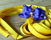 Rapunzel Long Yellow Golden Ribbon Tangled Theme Hair Clip with Purple Bow