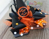 Halloween Witch Hat Hairbow Toil 'n Trouble Classic Halloween Design with Bottle Cap Glitter Tulle and Rhinestone Accents