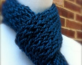 Knitted Scarf in Teal by LuckyCharmFancy
