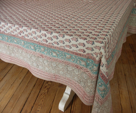 """Hand Block Printed Tablecloth - Pink Booti - 70"""" x 108"""" - ON SALE"""