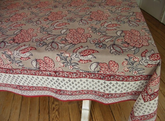 """Hand Block Printed Tablecloth - Delft Taupe - 59"""" x 89"""""""