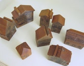 Vintage Set of Eight Primitive Rustic Wooden Houses