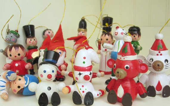 Vintage Lot of 18 Wooden Christmas Ornaments