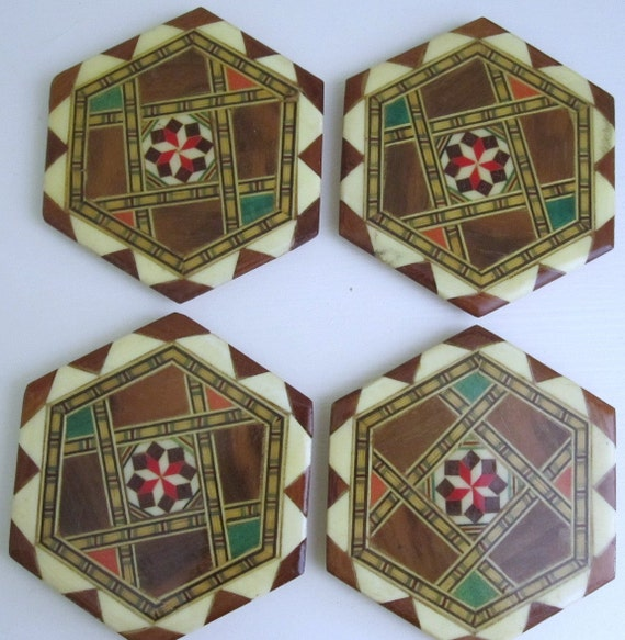 Set Of Four Unique Wooden Coasters 1960s Barware Drink