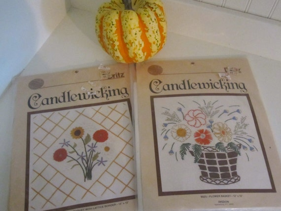 Two Vintage Dritz Pillow Candlewicking Needlework Pattern Kits, 1980s Floral Embroidery Patterns, New in Package
