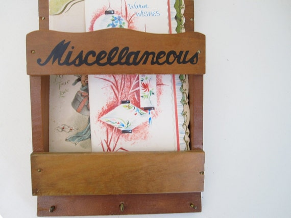 Vintage Wall Organizer for Letters Bills and Keys, Wooden Wall Pocket, Kitchen or Office Organization