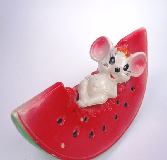 Vintage Mouse Plastic Coin Bank with Watermelon, Retro Cute Kitsch, 1960s Collectible, Made in Hong Kong