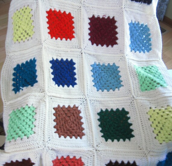 Vintage Crochet Afghan Blanket Granny Squares, Couch or Crib Throw, Country Farmhouse Decor