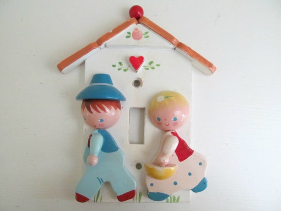 Vintage Irmi Nursery Switch Plate, Light Switch Cover by Nursery Plastics. 1960s Cottage Baby Decor