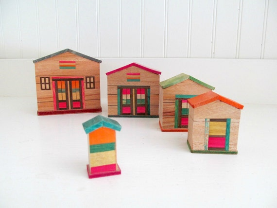 Vintage Wooden Nesting Houses Made In Japan Colorful Natural