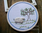 Embroidery Pattern PDF Wooly Sheep and Tree Pattern Design