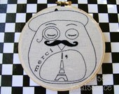 Embroidery Pattern PDF French Beret  Moustache Owl