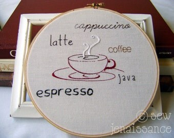 Embroidery Pattern PDF Coffee Latte Cappuccino Espresso Kitchen Design