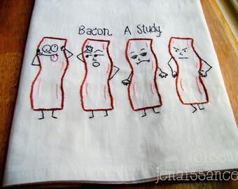 Embroidery PDF Pattern Emo Bacon Kitchen Tea Towel Design