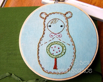 Embroidery PDF Pattern Matryoshka Nesting Doll Woodland Bear Pattern