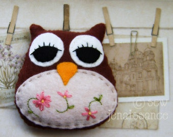 Felt Pattern PDF Woodland Owl Ornament