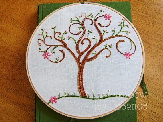 Embroidery Pattern PDF Spring Spiral Tree with Flower Blossoms