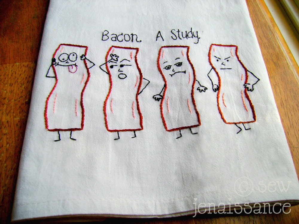 Embroidery PDF Pattern Emo Bacon Kitchen Tea Towel Design