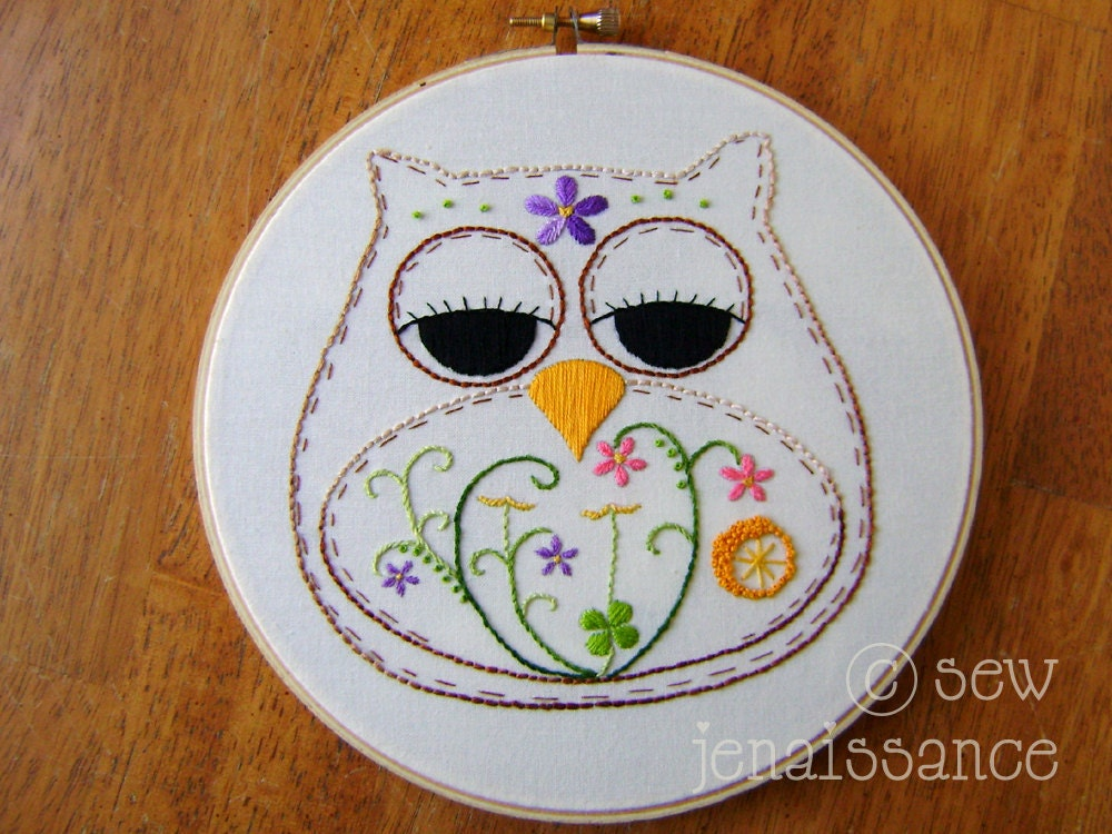 Embroidery Pattern PDF Owl Spring Flowers Bloom By