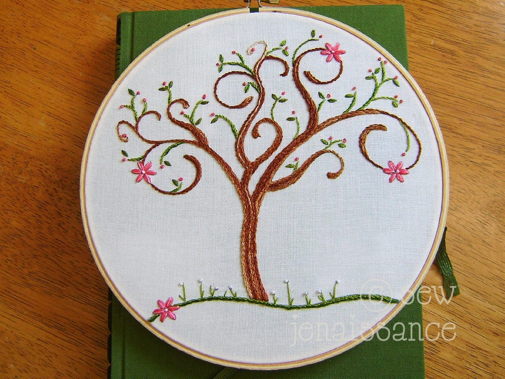 Embroidery Pattern PDF Spring Spiral Tree With By