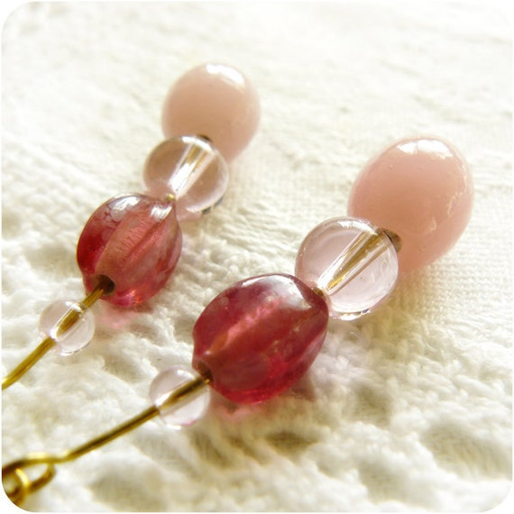 sugar sweet - romantic pink earrings brass and glass beads