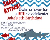 Shark Party Invitation Printable birthday party invite by Luv Bug Design