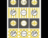 PRINTABLE Damask Bridal Shower Cupcake Toppers/Favor Tags- DIY printables by Luv Bug Design