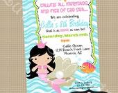 MERMAID Birthday Party Invite- Printable party invitation by Luv Bug Design