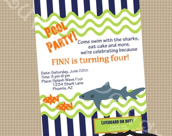 SHARK Pool Birthday Party Invitation- Printable party invitation by Luv Bug Design