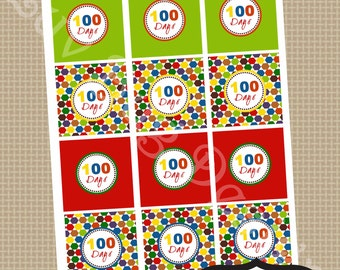 100th Day of School Printable Party Circles Cupcake Toppers or Favor Tags Printables by Luv Bug Design