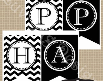 INSTANT DOWNLOAD- Printable Black and White Chevron Happy Birthday Party Banner-Printables by Luv Bug Design