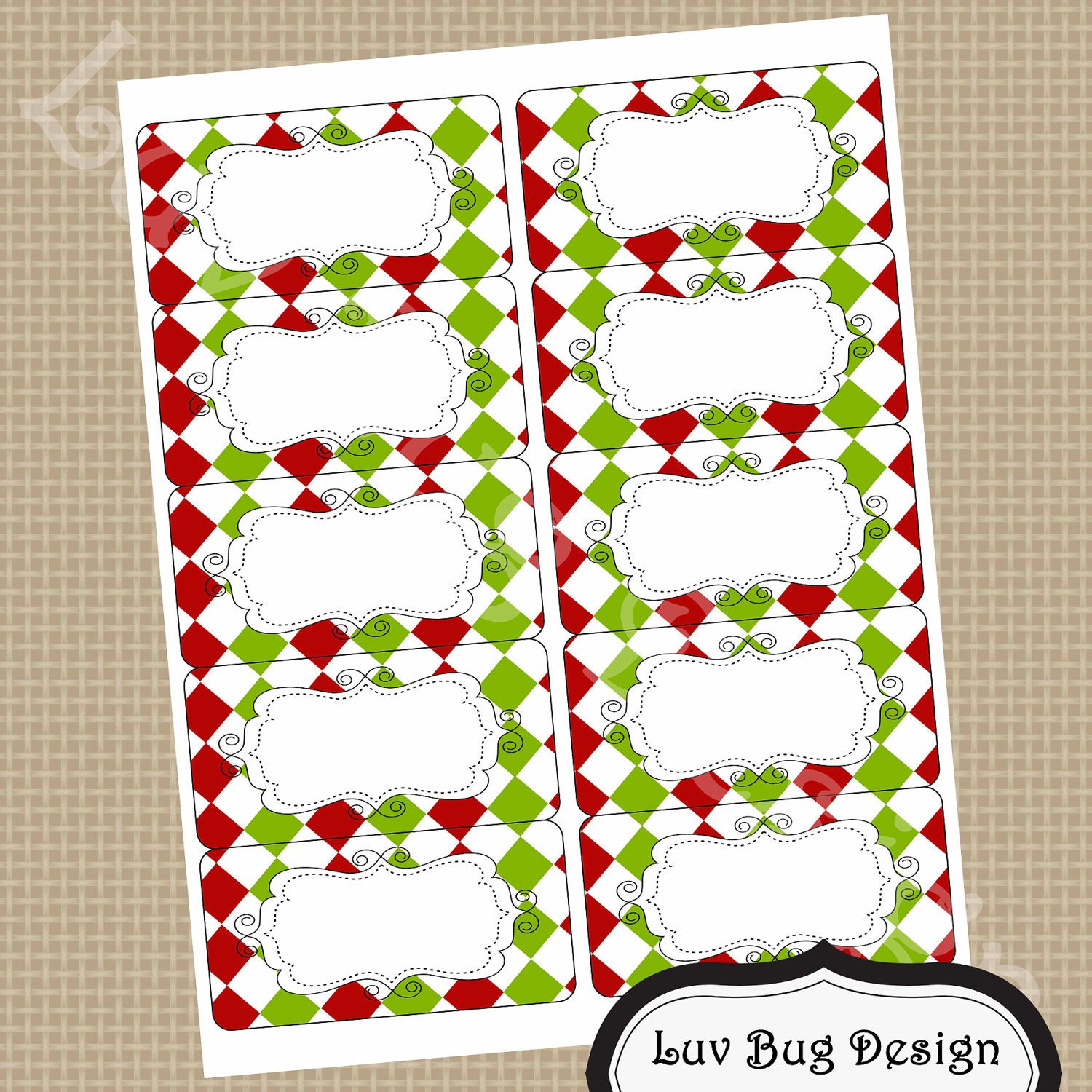 ELEGANT CHRISTMAS Printable 2x4 Blank Mailing Or By