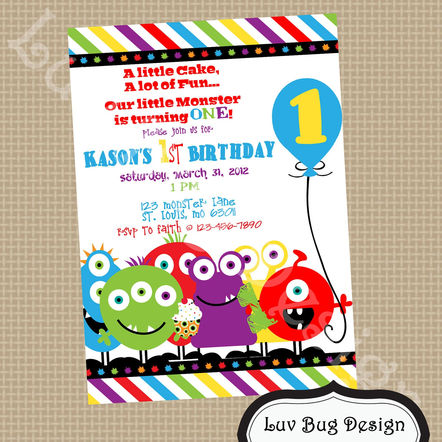 Monster Invitation Printable Birthday party invite by ...