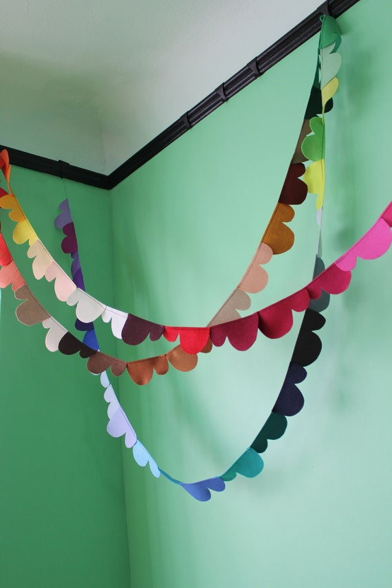 prismatic clouds felt garland 60ft RESERVED for Robbie