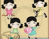 Asian girls kawaii clipart images for scrapbooking and card making