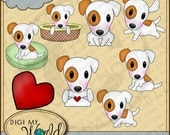 Jack Russell Terrier dog puppy clip art images for scrapbooking and card making
