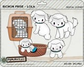 Bichon Frise dog puppy colored clip art clipart for cardmaking and scrapbooking