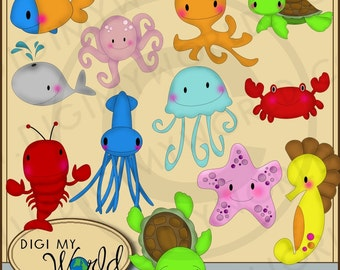 Sea Life, whale, octopus, crab, lobster, star fish, jellyfish clipart images for scrapbooking and card making