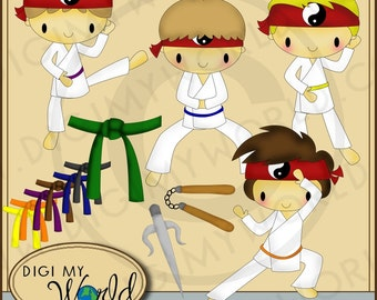 Karate Kid Boy martial arts clipart images for scrapbooking and card making