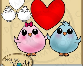 Adorable love birds  birdie Clipart and Digital stamp COMBO file