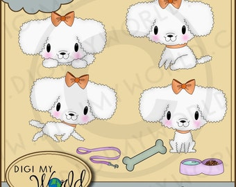 Fluffy poodle dog puppy clipart images very adorable