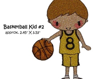 Machine Embroidery Basket ball kid playing basket ball kid 2 single image