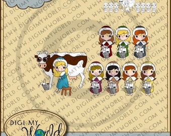 Twelve 12 Days of Christmas combo Pack - Maids Milking, Digital Stamp and Colored Version Clipart