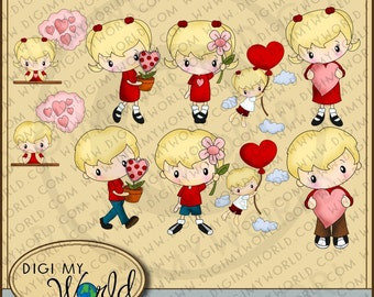 Valentines day boy and girl 10 Image Set - LIFT ME UP sweet hearts and love clipart graphics